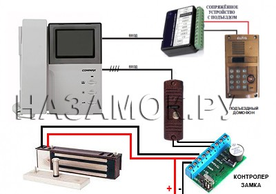 подключение видеодомофона с электромагнитным замком