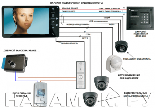подключение электромеханического замка видеодомофона